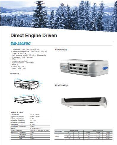 Модель DM 250S. Данный рефрижератор может создать температуру от 0 до - 20 гр. С. в 18 - 28 куб. м.