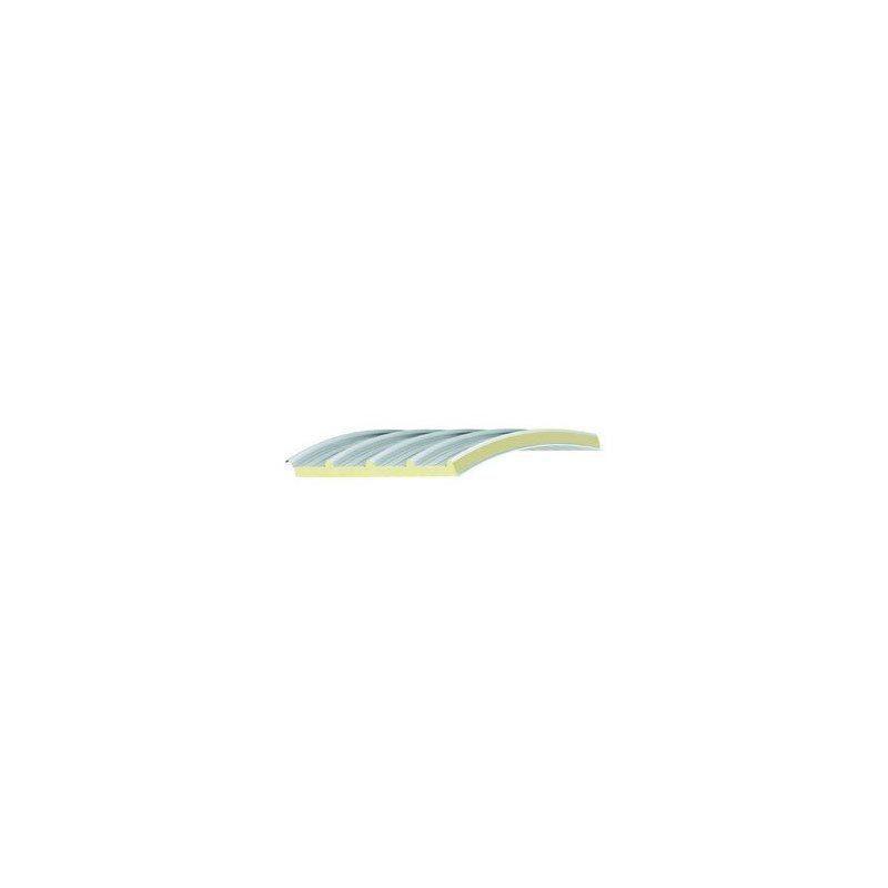 """Pannello curvo autoportante con isolante in lana di roccia destinato a coperture su travi alari o """"Y"""" prefabbricate."""