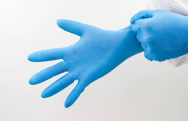 300mm class 100 blue nitrile gloves