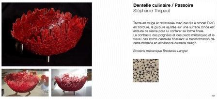 Interprétation de dentelles et broderies pour de nouvelles applications : concours 2008. Dentelle culinaire, création Stéphanie Thépaut.