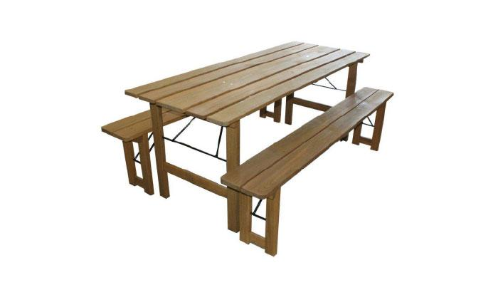 Foldable picnic table set. Fasteners - metal tube diameter of 10 mm. Table and benches made of coniferous hardwood, oiled by Remmers HK Lasure tone palette. Standard tone brown.
