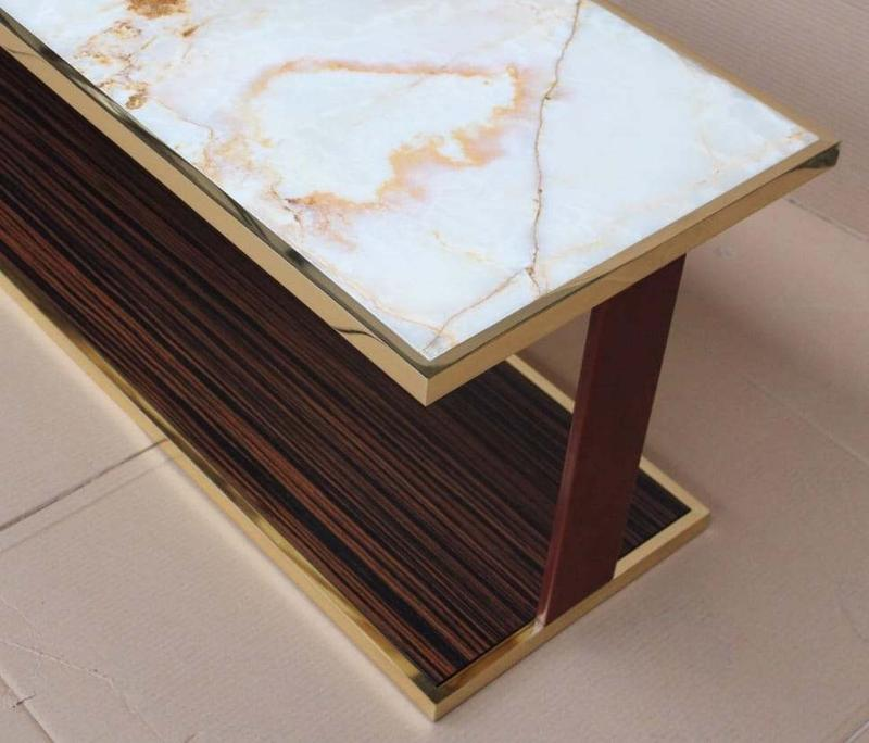 Brass / Bronze + Onyx + Leather + Wood Contemporary Luxury Coffee Table