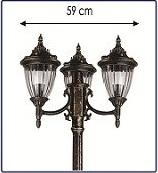 Material: Aluminum / Lantern: Tiffany glass Column: come in one, two and three lantern post. Length: 210 - 400 cm Models available in 3 colors: black mat, Antique Bronze and Antique Cupper