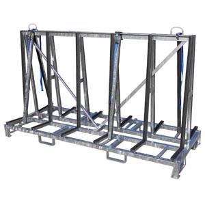 Contenitore per trasporto/movimentazione piani cucina/bagno rivestito in gomma a doppia fiancata con 4 sostegni, dimensione cm 200x80x100h (possibilità di avere anche misure personalizzate)