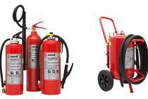 Handheld and wheeled fire extinguishers
