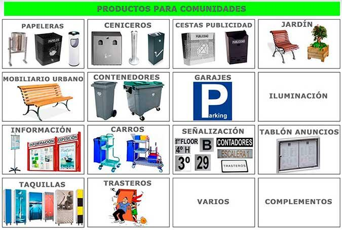 wastebaskets, ashtrays, planters, cleaning carts, lockers, containers, displays information,