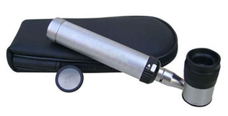 Dermatoscope with LED light, high visual quality lens packed into zipper bag. Extra lens will be added on request.