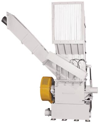 Schneidmühle mit zusätzlichem seitlichem Einwurf für die Beschickung von Rohren oder Profilen.