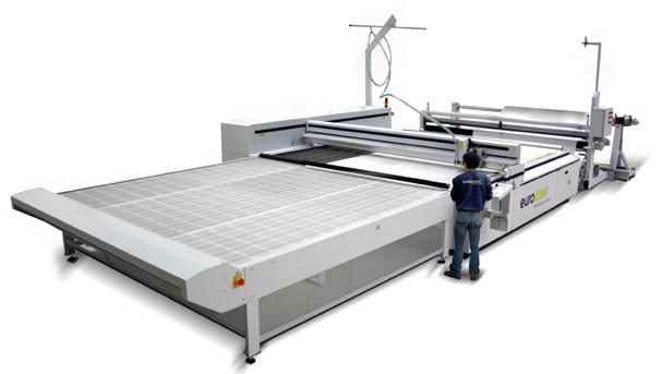 "The laser cutting machine 3XL-3200 is the ""Colossus"" in the eurolaser cutting series. Textile processing off the role up to 3,210 mm width and of very large materials with seamless cuts are possible."