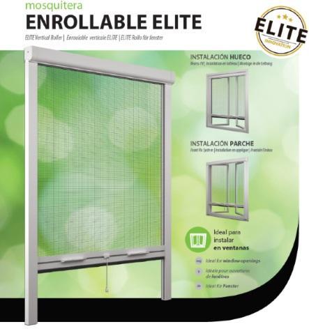 Mosquitera enrollable para ventanas con mecanismo clic-clac. Empaquetada en blister con perfiles y accesorios para ser instalada a medida de modo frontal, parche o hueco.