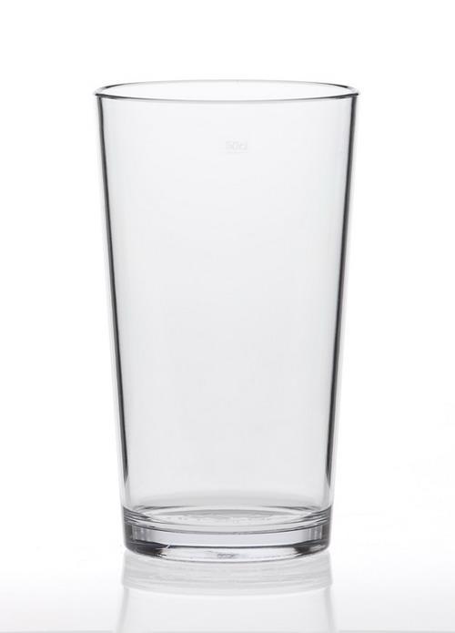 Vaso en policarbonato alimentar irrompible reciclable y reutilizable.  Transparente como si fuera en vidrio.  Adecuado para cervezas Stout, English / India / American Pale Ale, Gin y Cocktails.
