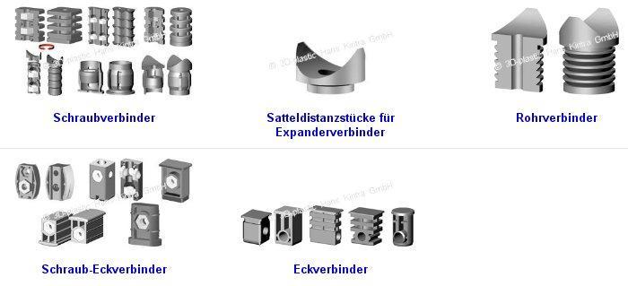 Schraubverbinder, Satteldistanzstücke für Expanderverbinder, Rohrverbinder, Schraub-Eckverbinder, Eckverbinder, screw connector, saddle distance pieces for Expander connectors, pipe connectors