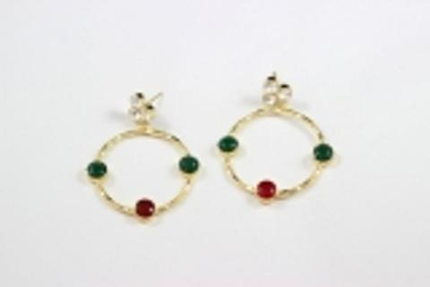 Earring made of brass & natural Stone