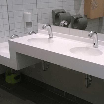 Waschtische für den Objektbereich. Diverse ausführungen aus Corian®, Samsung Staron und LG-Himacs. Mit 10 Jahre Garantie!