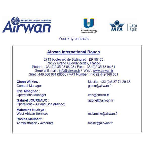 CONTACTS AIRWAN INTERNATIONAL ORGANISATION DE TRANSPORT INTERNATIONAL