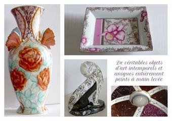 Vases, vide-poches, chat de collections l'atelier porcelaine vous propose diverses pièces de porcelaine peintes à la main pour la décoration ou les collections .