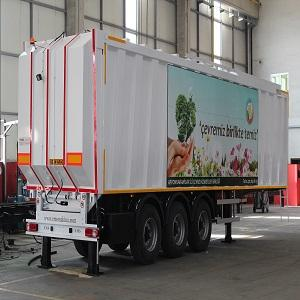 EMS Makina is Manufacturer of Top Loading Waste Tranfer Compression Semit trailer(Refuse Trailer). Capacity: 52m3 - 72m2.