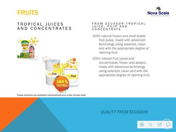 Tropische Fruchtsäfte und Fruchtkonzentrate aus Ecuador von bester Qualität. Mango, Guanabana, Maracuya und viele andere 100% Naturprodukte stehen zu Ihrer Wahl zur Verfügung.
