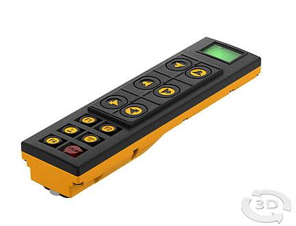 Einhandfernbedienung im Brusttaschenformat, extrem flacher Sender mit 6 zweistufigen und 4 einstufigen Tasten erhältlich sowie Punktmatrix-Display.