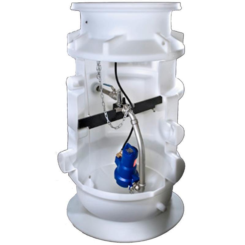 Pumpenschächte der Baureihe CK 800 von KSB AG mit Schneidradpumpe/n für die Druckentwässerung.