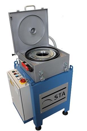 Leistung: 1,5 kW, Rotor-Volumen: 4,5 l, Schlammkapazität: 6 kg, Volumenstrom: 50 l/min, kompakt, Direktantrieb, freier Ablauf der Reinflüssigkeit
