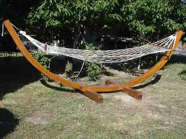 wooden hammock stand