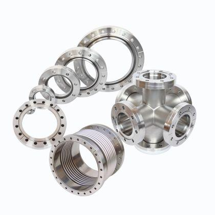 For the requirements of high and ultra high vacuum as well as of high temperature, CF-flanges are the solution as they seal by metal seals.