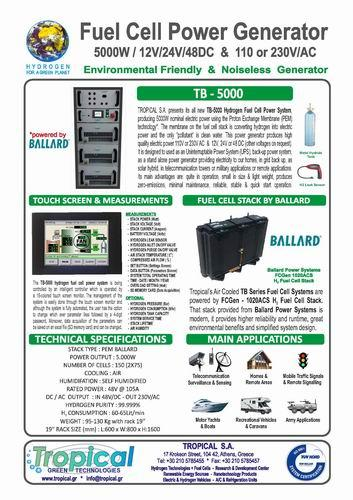 FUEL CELL GENERATOR WITH MA. CAP. 5000 WATT