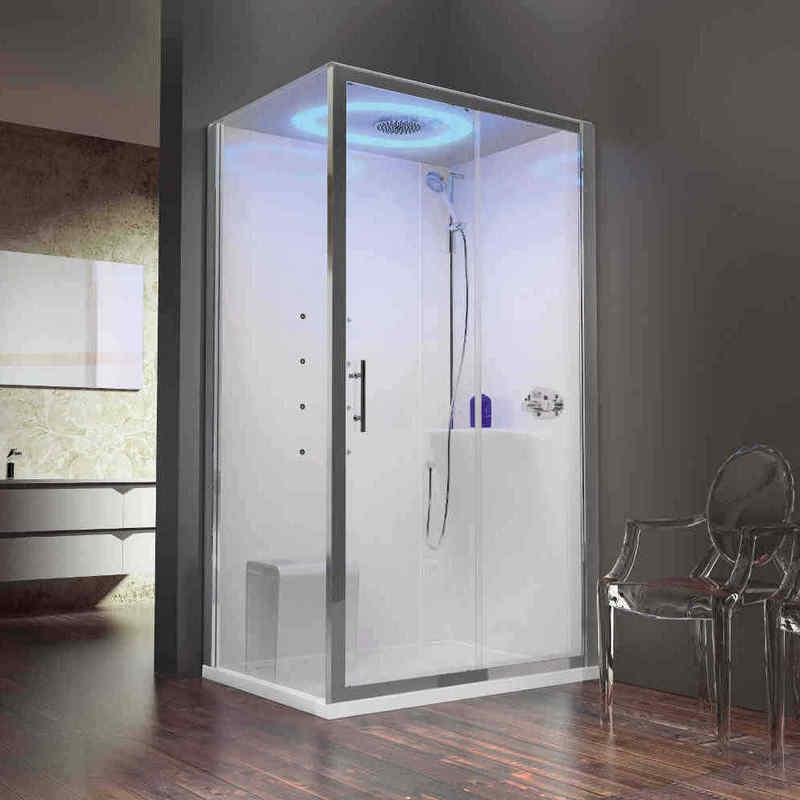 La cabina che guarda al futuro si chiama Eon: Novellini esalta le qualità dei materiali che la caratterizzavano (vetro, acrilico e allumunio) in un prodotto creato per il benessere di tutti.