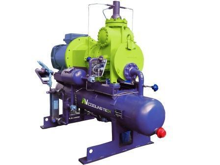 Grupo Motocompresor con compresor Mycom de tornillo diseñado y fabricado por RV Cooling Tech.