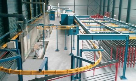 Chaîne de thermolaquage automatique:  Tunnel d'aspersion (TTS) , tunnel de séchage, cabine de peinture poudre, tunnel de cuisson et convoyeur