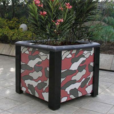 Le fioriere per esterni in acciaio e lastre in gres porcellanato Modularte sono componibili e personalizzabili scegliendo dal catalogo le lastre per colore e texture