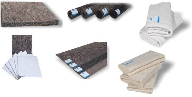 HARD & SOFT FELTS – WOOL & COTTON WADDING for Furniture (Sofabed & Mattress), Construction (Heat & Sound Insulation) industry, Underlay felts for Carpets, Automotive industry and Packing industry.