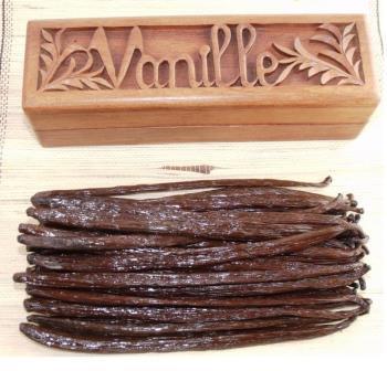 premium vanilla beans with wooden box