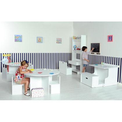 Mesa infantil modelo redondo o hexagonal, pupitre abatible y Mi primer vestidor