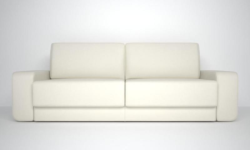 Lord model sofa upholstered in leather.