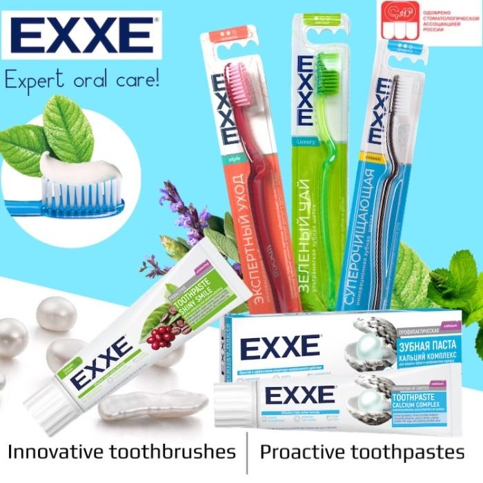 Toothbrushes and toothpastes EXXE