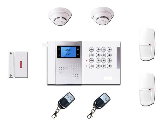 1 Centrale radio avec GSM + 2 Détecteur PIR sans Fil + 2 Détecteur sans Fil + 2 Télécommande 4 boutons 610 € TTC.