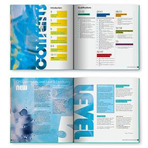 Imagery was combined within a strong typeface to create the inside spreads of the CIPD training course and qualification directory.
