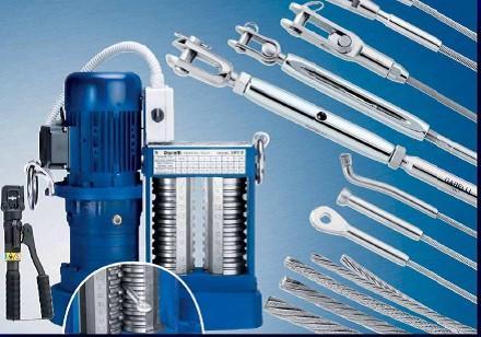Produzione di funi e tiranti inox di qualità AISI 316 e di presse ed utensili per pressare i terminali capocorda, certificati - made in Italy