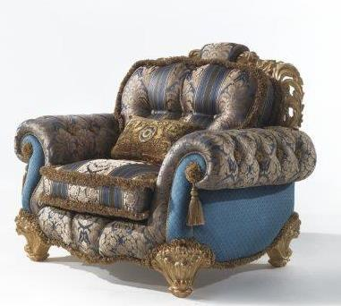 Armchair. Solid wood frame, ahand made carving, gold leaf finishing. Silk fabric matched with velvet and hand made trimming.