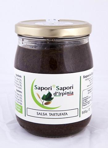 SALSA TARTUFATA  Funghi champignon 80%, olive nere 1%, olio   extra vergine di oliva 12%,  Tartufo Nero  estivo (Tuber Aestivum Vitt.) min. 5%,  spezie, sale, aromi.