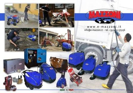 Mazzoni srl manufacture high pressure washers, scrubbers and sweepers, but also components as electrical motors, diesel/ gas boilers, high pressure pumps, valves, guns and many other components.