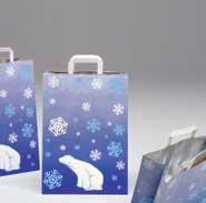 Bolsas de papel 32+17x45 exterior kraft blanco. Interior de papel kraft y aluminio acomplejado. Asas planas. Bolsas de papel especiales para congelados