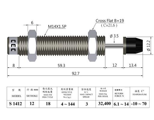 Non-adjustable shock absorber, thread M14 pitch 1.5  mm, stroke 12 mm, surface nitriding treatment.