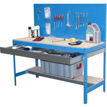 Work benches with drawer dim (HxWxD mm) 1440x900x1500mm Colors: Grey or blue