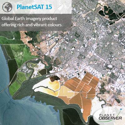 PlanetSAT 15 is a unique global imagery base map with 15m resolution, upgraded with cloudless data and up-to-date satellite imagery.