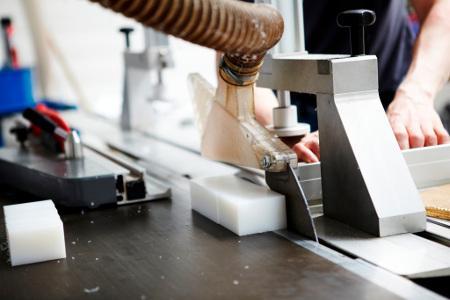 Polymer sheet-slab cutting