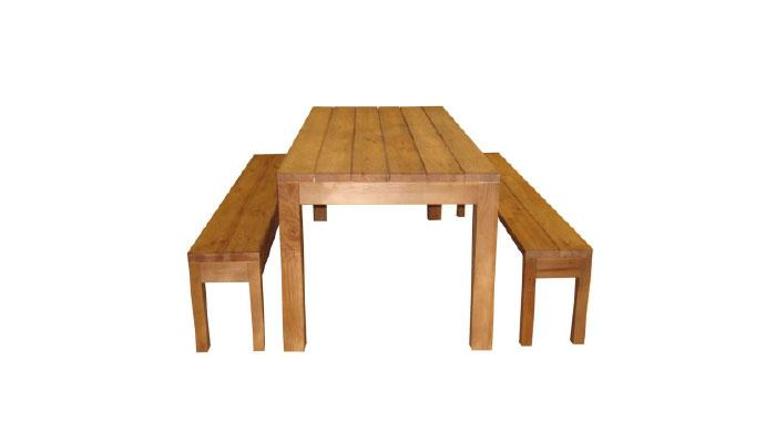 Picnic table set. To sets have two sizes and a variety of finishing types. Made of coniferous hardwood. Wood finish types: oil, paint or impregnated. Oil after Remmers HK Lasure tone palette.