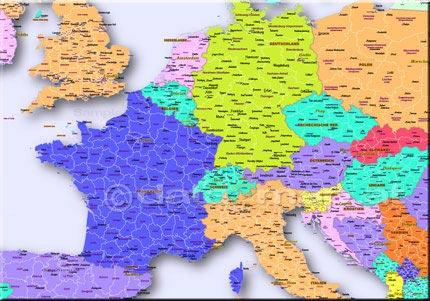 Fully editable Map of Europe with Administrative Areas (States, Regions, Cantons, Bundeslaender). For unrestricted customization with Adobe Illustrator - freely add own text, symbols, graphics. colors